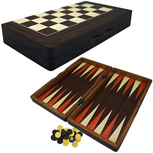 PrimoLiving Deluxe Holz Backgammon Set Porto im Format 32,4x35 cm (M)
