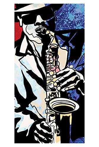LimeWorks Toalla de Baño, 70x140 cm, Jazz músico con saxófono