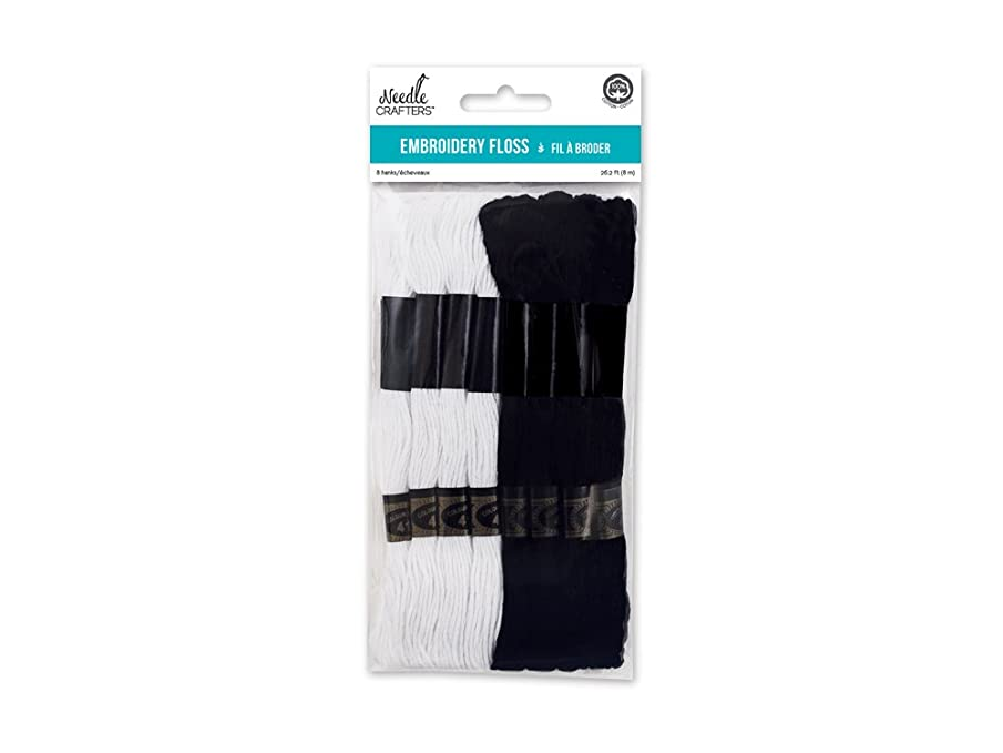 Needlecrafters Cotton Embroidery Floss, 8m, Black/White,