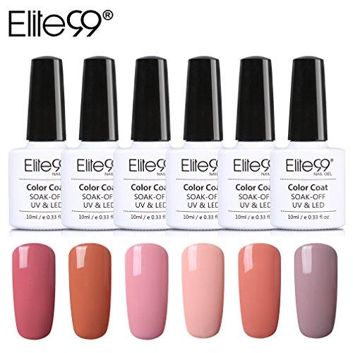 Elite99 UV LED Nagellack set uv gel shellac set sock off gel peer off nagellack uv farbgel gel matt nagellack polish für maniküre 6 Flasche je 10ML