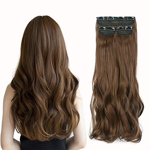 """Full Head Soft WavyClip in Hair Extensions Hair Pieces for Women(Curly Invisible Thick 3 PCS Set Synthetic Hair Extensions) -Light Golden Brown 16"""""""