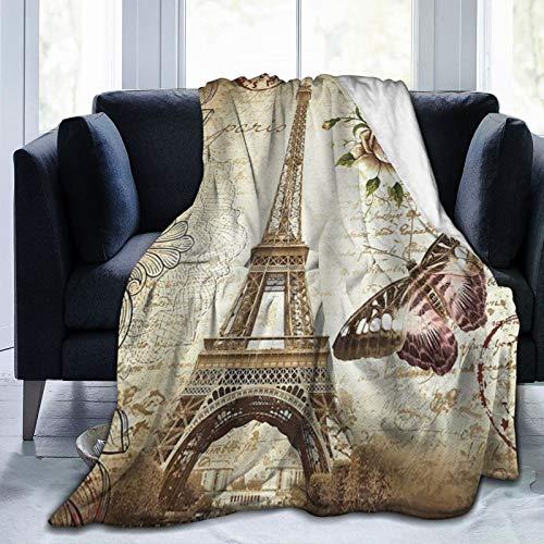 QIUTIANXIU Mantas para Sofás de Franela 150x200cm Torre Eiffel Vintage Manta para Cama Extra Suave