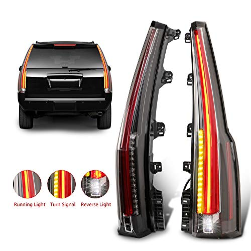 MOSTPLUS LED Tail Lights Rear Lamp Brake Compatible for 2015 2016 2017 2018 2019 GMC Yukon Cadillac Style | Set of 2 (Red Clear)