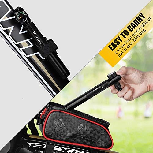 WESTGIRL Mini Fahrradpumpe mit Manometer – 300 PSI – Für Presta & Schrader – Tragbare Fahrradrahmenpumpe mit leimlosem Pannenset für Rennrad, Mountainbike und BMX, Montagesatz und Ballnadel inklusive - 6