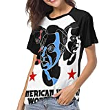 JEWold David Byrne American Utopia Tour 2018 Manga Corta de bisbol para Mujer Camisetas ragln Negras Camisetas para Mujeres