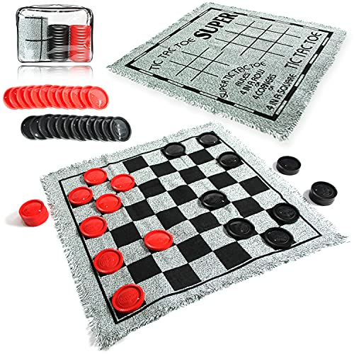 Giant Checkers Set - 3 in 1 Tic Tac Toe Game Board for Adults and Kids with 24 Checker Pieces Reversible Rug - Indoor and Outdoor Games for Family and Party - Gift for Kids