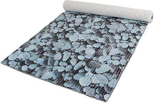 65 oder 130 cm breiter Badvorleger / rutschfeste Matte / Bodenbelag aus PVC Weichschaum,wasserabweisend und rutschhemmend für Bad, Dusche oder Küche Farbe Lightbluestone Größe 130 cm x 200 cm