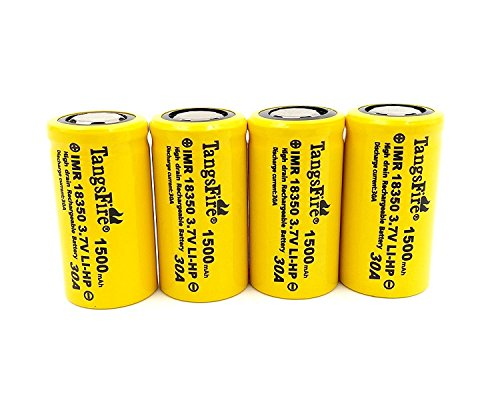 IMR 18350 Lithium Rechargeable Battery 1500mAh 3.7V 30A High Drain Flat Top (4pcs Real Capacity 700mah)