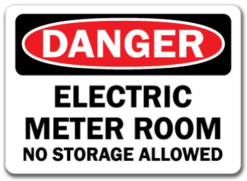 "Danger Sign - Electric Meter Room No Storage Allowed - 10"" x 14"" OSHA Safety Sign"
