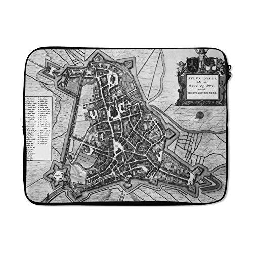 Laptophoes 15 inch 38x29 cm - Historische stadskaarten - Macbook & Laptop sleeve Een oude zwart witte stadskaart van s-Hertogenbosch - Laptop hoes met foto