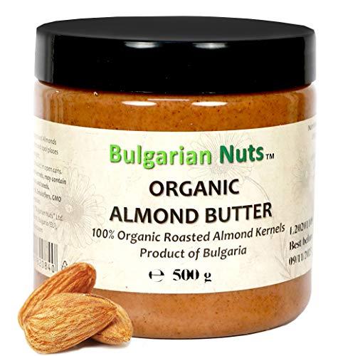 500 g Burro di Mandorle Bio a base di mandorle 100% integrali, Senza - Glutine, Emulsionanti, Olio di palma, Zucchero, conservanti, Mandorle Bulgare