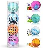 Bath Bombs Gift Set of 4 - Lush All-Natural, Organic,...