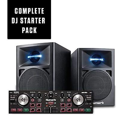 DJ Controller Bundle - Compact USB DJ Controller with 2 Decks, DJ Speakers with LED Lighting & Serato DJ Lite – Numark DJ2GO2 Touch and N-Wave 360