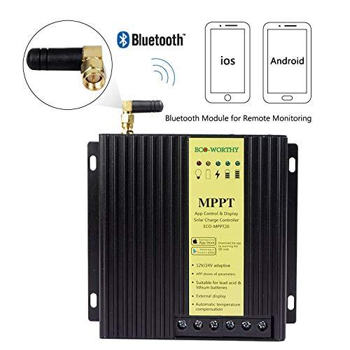 ECO-WORTHY 40A 12v 24v - mppt solarladeregler controller marker für lithium, gel, agm und bleibatterien kompatibel mit bluetooth - modul für android ios