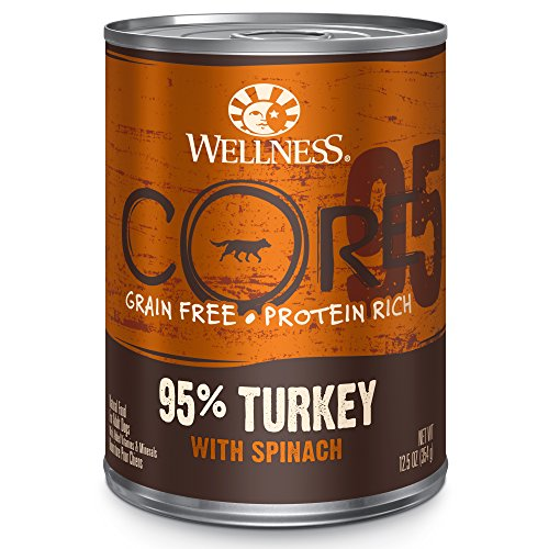 Wellness Core 95% Grain Free Turkey & Spinach Natural Wet Canned Dog Food Mixer Or Topper, 12.5-Ounce Can (Pack Of 12)