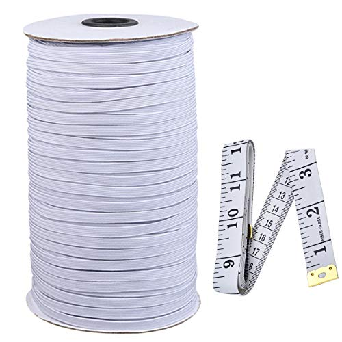 1/4inch 120 Yard Rubber Braided Elastic Rope Heavy Stretch Elastic Cord Sewing Elastic Spool for Clothing, DIY, Arts and Crafts with 1 Tape