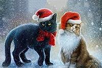 1000ピースの木製パズル、クリスマス帽子をかぶった猫、教育玩具、子供の教育減圧楽しいゲーム