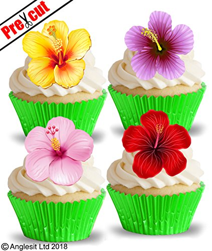 pre-cut Hawaii Blumen-III, essbar, Wafer Papier Cupcake Dessert-Hawaii Exotic Tropical Flower Geburtstag Dekoration Frühling Sommer Party Hochzeit Baby Dusche zum Muttertag, Ostern, Dekoration
