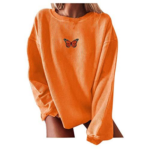 zhanxin Women Autumn Oversized Butterfly Print Sweatshirts Long Sleeve O-Neck Ladies Casual Loose Pullover Tops Sweatshirts Orange