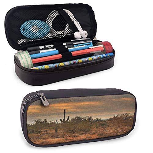 XCNGG Saguaro Estuche para lápices con doble cremallera, dramática vista del desierto sombreado con una nube de tormenta que se acerca al oeste de Arizona, para bolígrafos, lápices, resaltadores, bolí