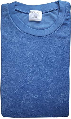 Damen Frottee Pyjama mit Rundhals, Uni, Ringel Hose, Blau, 61771, Gr. S 36/38