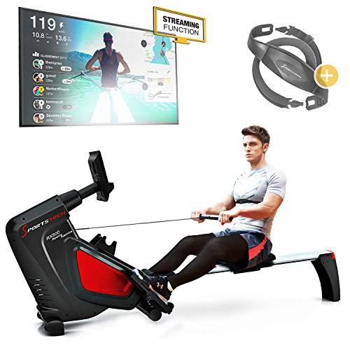 Sportstech RSX500 rameur- marque de qualité allemande - video & multijoueurs APP - avec Moniteur de fréquence Cardiaque - 16 programmes - résistance magnétique