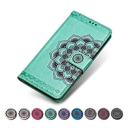 KKEIKO Huawei Honor 6C Hülle, Huawei Honor 6C Leder Handyhülle Schutzhülle, Blume Muster Stoßsichere Lederhülle Brieftasche Flip Case für Huawei Honor 6C - Grün