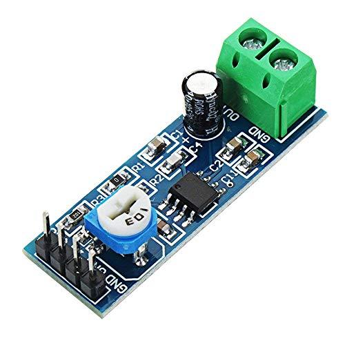 200 Times Gain LM386 - Amplificador de Audio con módulo de amplitud con potenciómetro de Control de Resistencia Ajustable para Arduino Raspberry Pi o proyectos Musicales (5 Unidades)