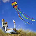 HONBO R2F Huge Rainbow Soft Octopus Kite for Kids and Audlts- Large Kite with Long Tail and 200ft Flying line---Easy to…