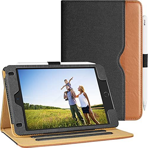 Hülle für iPad Mini 5 2019 / iPad Mini 4 2015 7,9 Zoll Leder Eckenschutz Multi-Winkel Stand Schutzhülle mit Pencil Stifthalter, Auto Schlaf/Wach für Apple iPad Mini (5./4. Generation), Schwraz+Braun