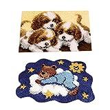 CUTICATE 2 Juegos de Kits de Gancho de Pestillo con Patrón de Animales Paquete de Fabricación de Tapetes para Alfombras Artesanía Manual