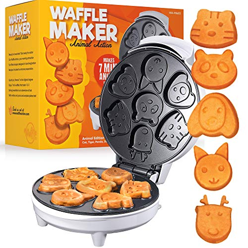 Animal Waffle Maker - Kids Waffle Maker and Mini Pancake Maker with 7 Fun Animal Face Waffle Maker Shapes - Easy to Use Non-Stick Electric Griddle Mini Waffle Maker by Tettonia