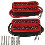 Yibuy Paire de micros en métal pour guitare électrique avec aimants en céramique et vis à tête parapluie -Rouge