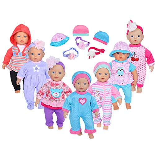 ebuddy 7sets Doll Playtime Outfits Clothes Hat Headband for 10 Inch Baby Dolls 12 Inch Alive Baby Dolls New Born Baby Dolls