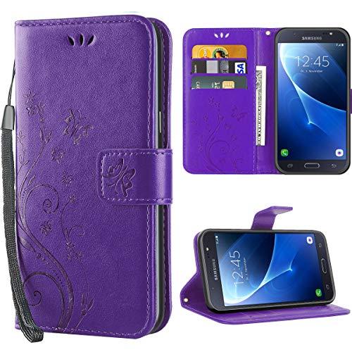 Samsung Galaxy J7 2016 hülle,Solide Butterfly PU Ledercase Tasche Schutzhülle Galaxy J7 2016 flipcase Magnetverschluss Handyhülle im Wallet - Lila