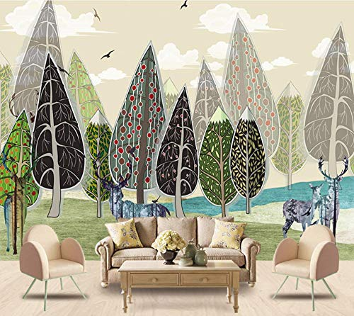 Fotomurales Alces de navidad125X80CM Decoración de Pared decorativos Murales moderna de Papel Pintado Sala Living Oficina Dormitorio
