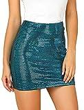 Allegra K Falda Lápiz Elástico Lentejuelas Brillantes Cintura Alta Minifalda Ajustada para Mujer Negro S