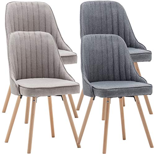 Deuline® 2X Esszimmerstühle Sand - Stoffbezug Esszimmerstuhl SGS Zertifiziert Massivholz Beine Polsterstuhl Retro Design Stühle Sessel Lehnstuhl Copenhagen 521221