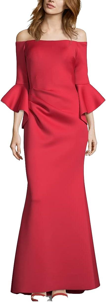 BETSY & ADAM Women's Off-the-shoulder Scuba Ball Gown Dress