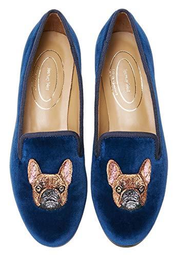 Journey West Women's Loafer Flat Velvet Embroidery Smoking Slippers Slip on Shoes for Women Bulldog Navy Blue US 9