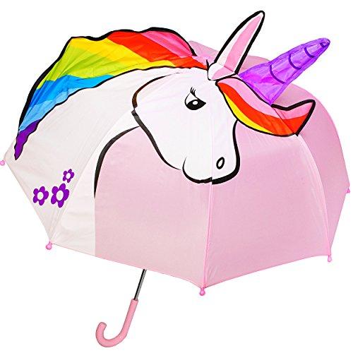 alles-meine.de GmbH 3-D Effekt _ Regenschirm -  süßes Einhorn - rosa  - Kinderschirm Ø 74 cm / mit Klemmschutz - Kinder Stockschirm mit Griff - Regenschirme - für Mädchen - Sch..
