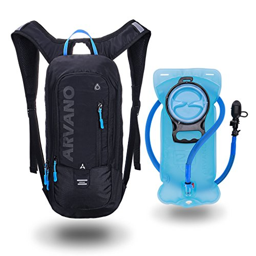 Arvano 6L Wasserdicht Radfahrender Rucksack, Fahrradrucksack mit 2L Trinkblase, Atmungsaktive Schulter Rucksack Leichte für Outdoor Sport Camping Wandern Klettern Laufen Ski