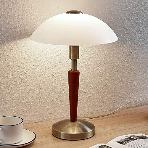 Lindby Tischlampe 'Tibby' (Retro, Vintage, Antik) in Gold/Messing aus Metall u.a. für Wohnzimmer & Esszimmer (1 flammig, E14, A++) - Tischleuchte, Schreibtischlampe, Nachttischlampe, Wohnzimmerlampe