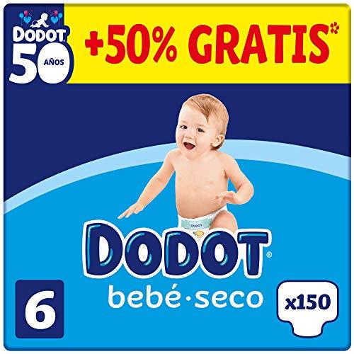 DODOT Bebé-Seco - Pañales Talla 6, 150 Pañales, +13kg, BOX ANIVERSARIO +50% GRATIS