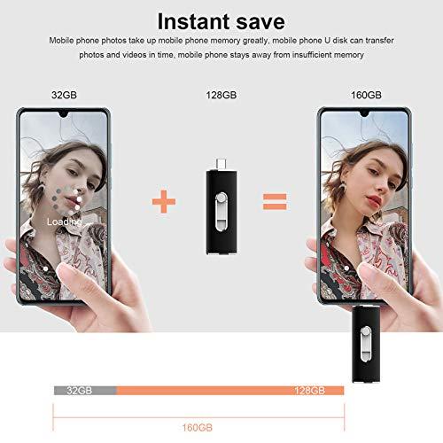 Vansuny USB C Stick 128GB, USB 3.0 & Type-C 2-in-1 Flash Laufwerk, Dual USB Stick Slide-/Versteckt-Design , OTG Speicherstick für Smartphone, Tablet, Mackbook, PC, Laptop (Schwarz)