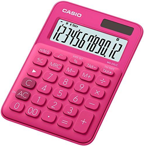 Casio MS-7UC-RD Mini Tischrechner in Trendfarbe, 10-stellig, in drei Farbvarianten
