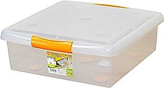 BBZZ Boîte de rangement avec couvercle, légère, robuste, empilable sous le lit, petite fermeture hermétique, portable avec...