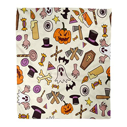 ZEALTRAIL Asjdad Blanket 60 X 80 Inch Halloween Axe Pumpkin Candle Candy Eyeball Bone Cross Star Hat Ghost Lightweight Fluffy Breathable Warm Room Decoration Blanket Four Seasons 50' X 60'