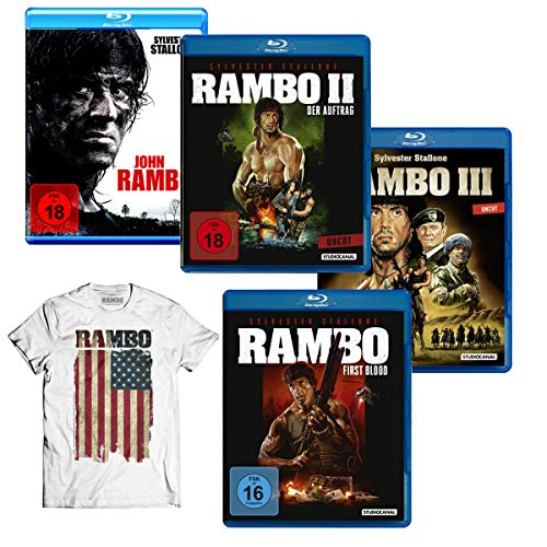 Rambo 1 - 4  Blu-ray Collection + Rambo T-Shirt American Flag (L) Geschenkset