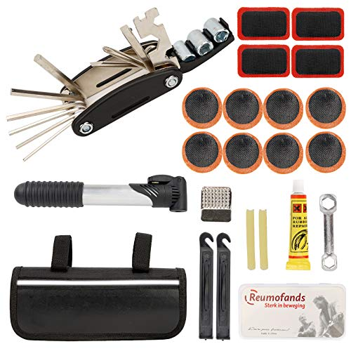 Herefun Fahrrad-Multitool Set, 16 in 1 Werkzeuge für Fahrrad Reparatur Set, Fahrrad Werkzeug mit Tasche, Fahrrad Flickzeug, Reifenheber, Selbstklebendes Fahrradflicken usw